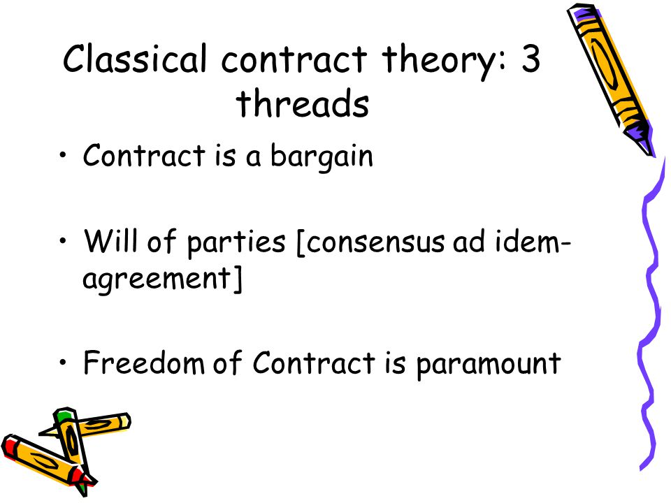Classical contract theory: 3 threads