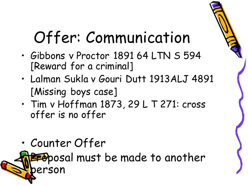 Offer: Communication Counter Offer