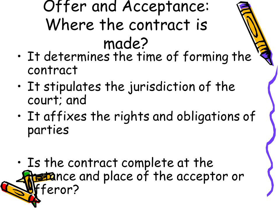 Offer and Acceptance: Where the contract is made