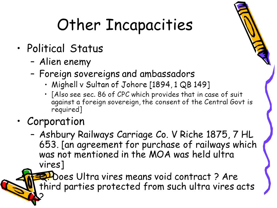 Other Incapacities Political Status Corporation Alien enemy