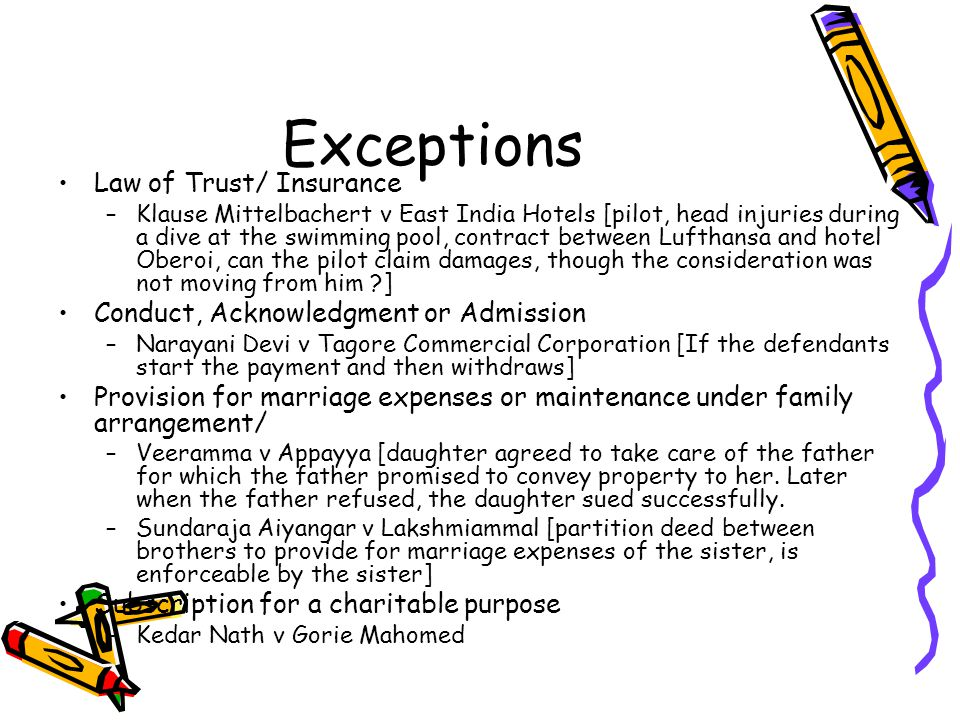Exceptions Law of Trust/ Insurance