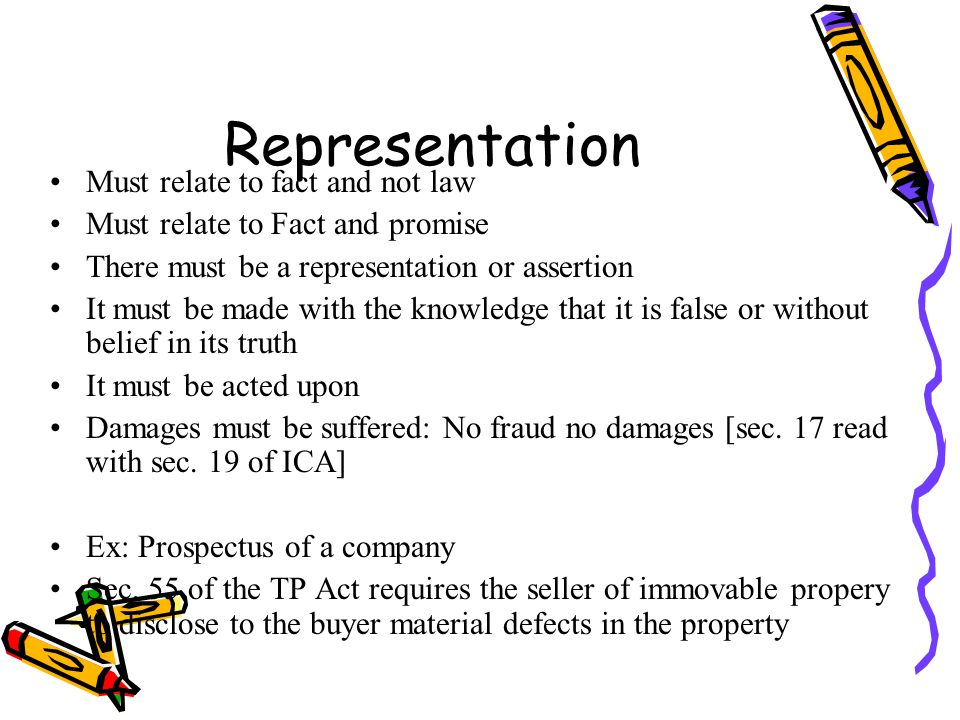 Representation Must relate to fact and not law