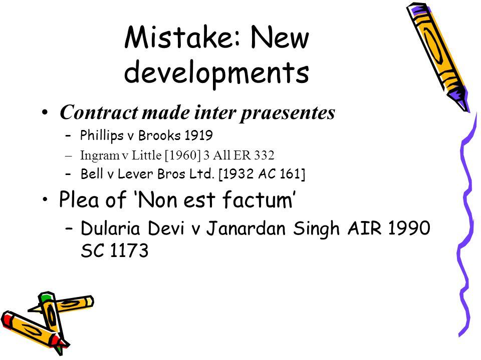 Mistake: New developments