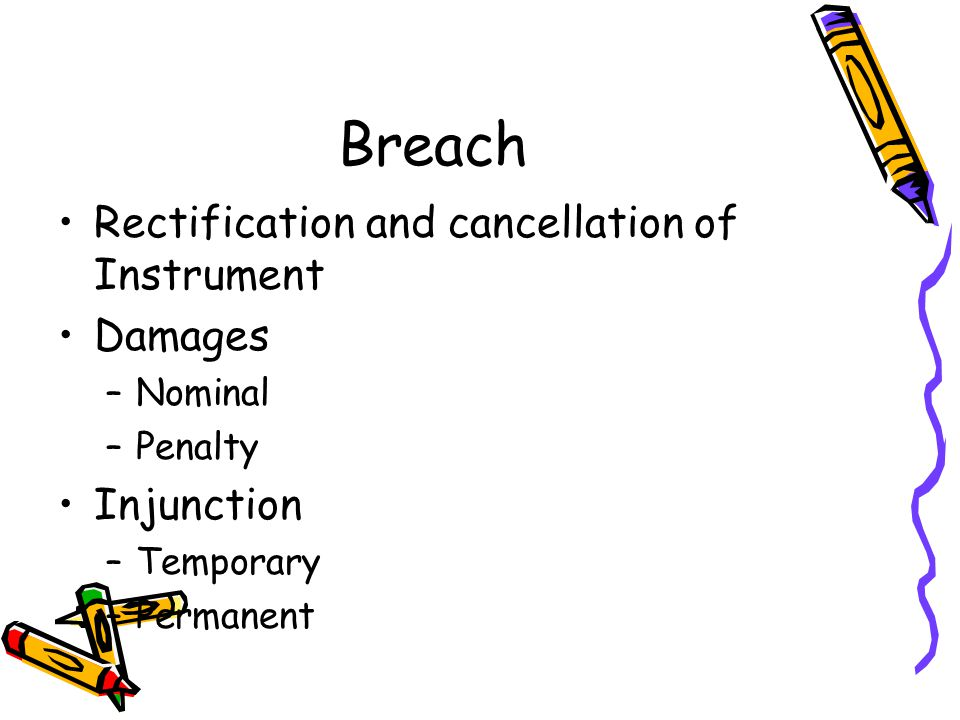 Breach Rectification and cancellation of Instrument Damages Injunction