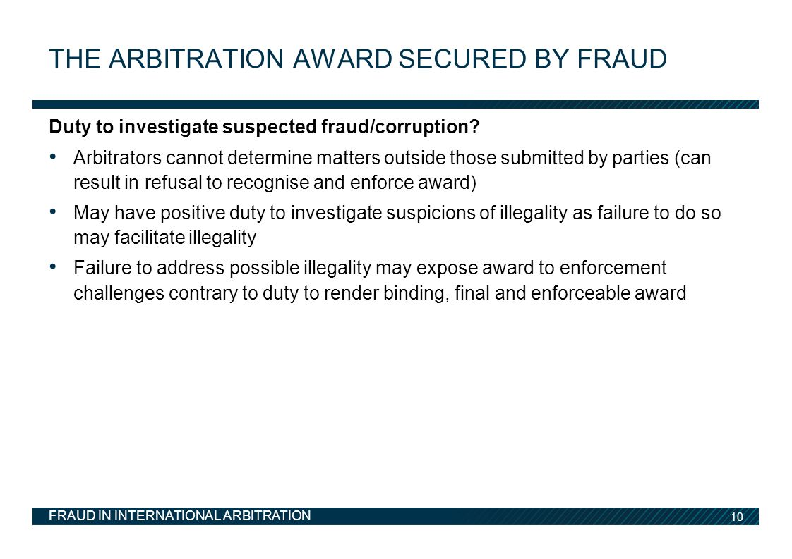 The arbitration award secured by fraud