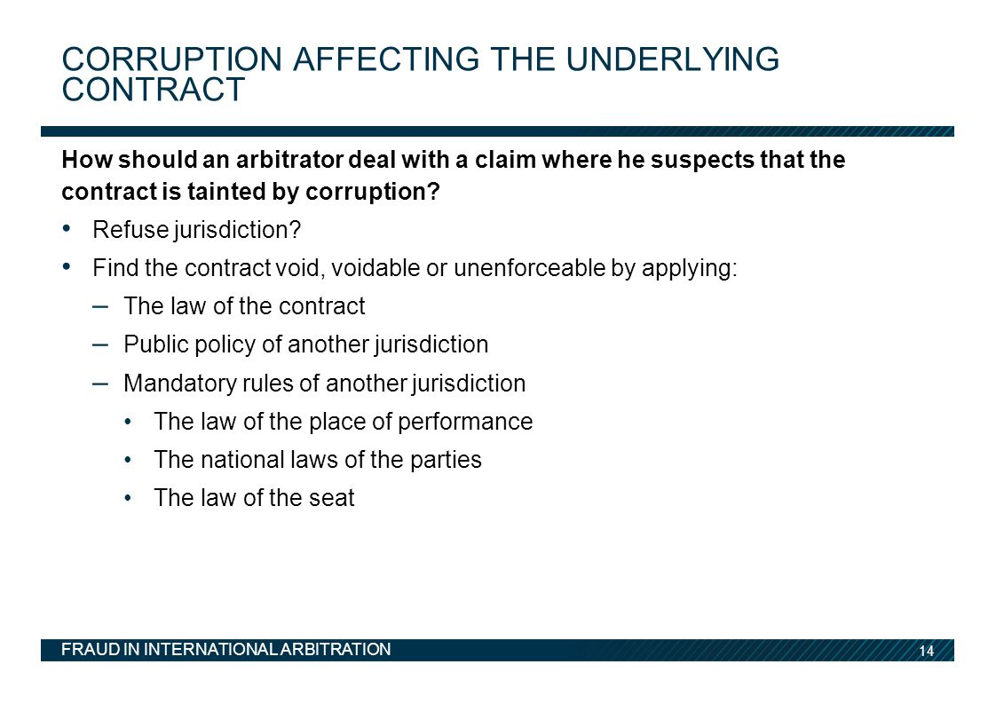Corruption affecting the underlying contract