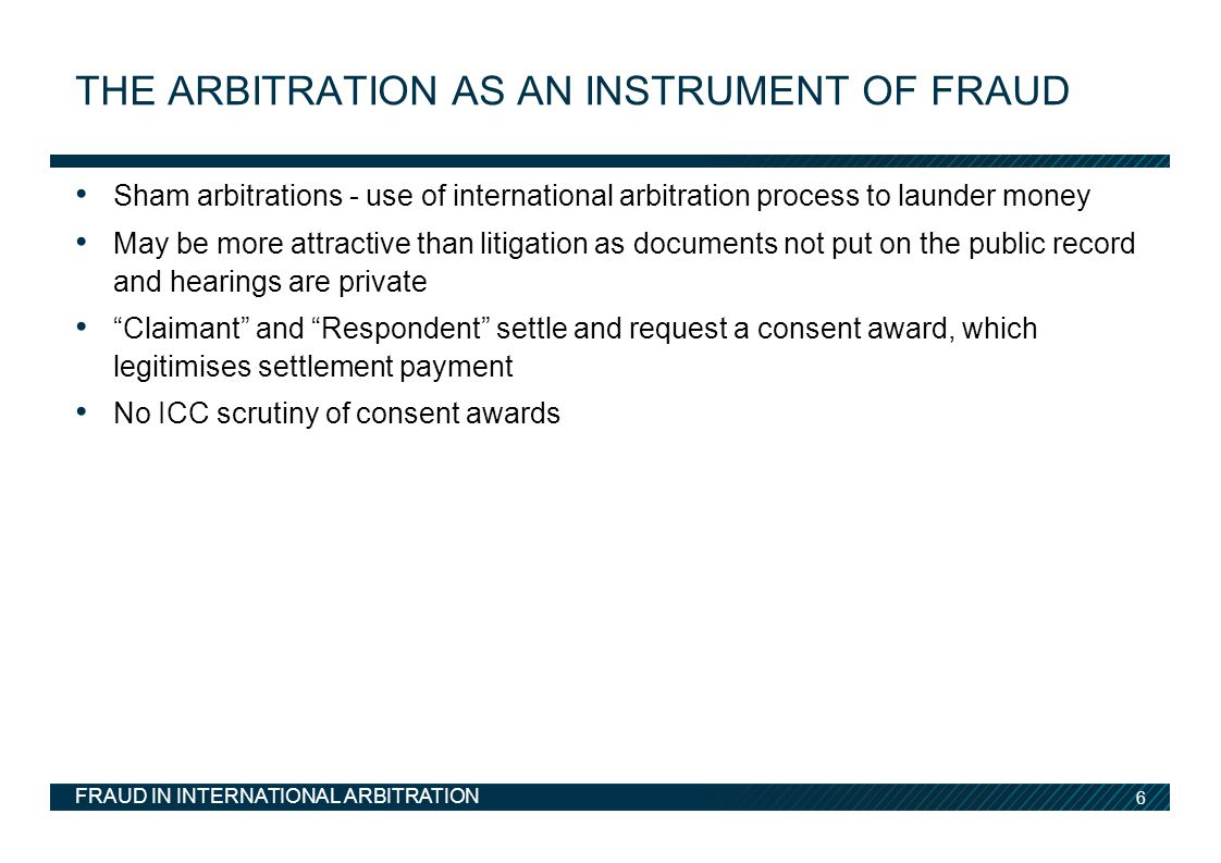 The arbitration as an instrument of fraud