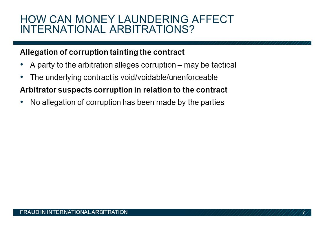How can money laundering affect international arbitrations