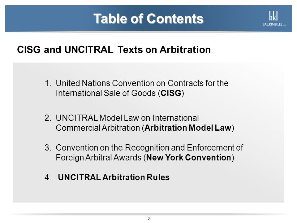 Table of Contents CISG and UNCITRAL Texts on Arbitration