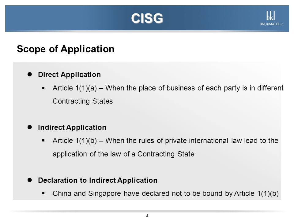 CISG Scope of Application Direct Application