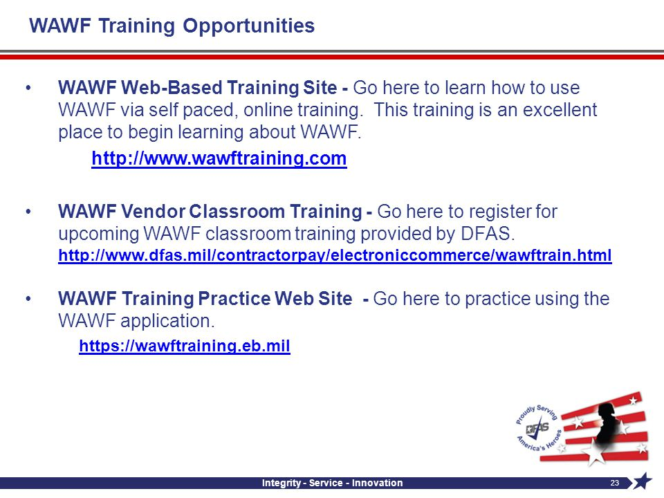 WAWF Training Opportunities