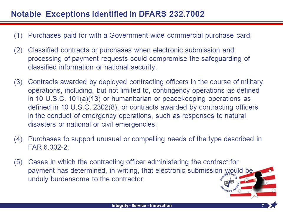 Notable Exceptions identified in DFARS 232.7002