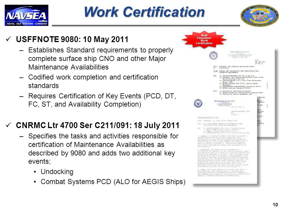 Avail Execution/ Work Certification