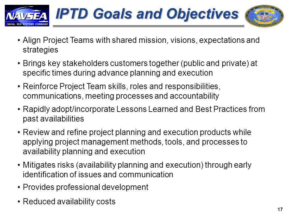 IPTD Goals and Objectives