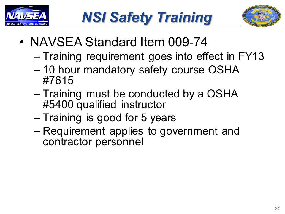NSI Safety Training NAVSEA Standard Item 009-74