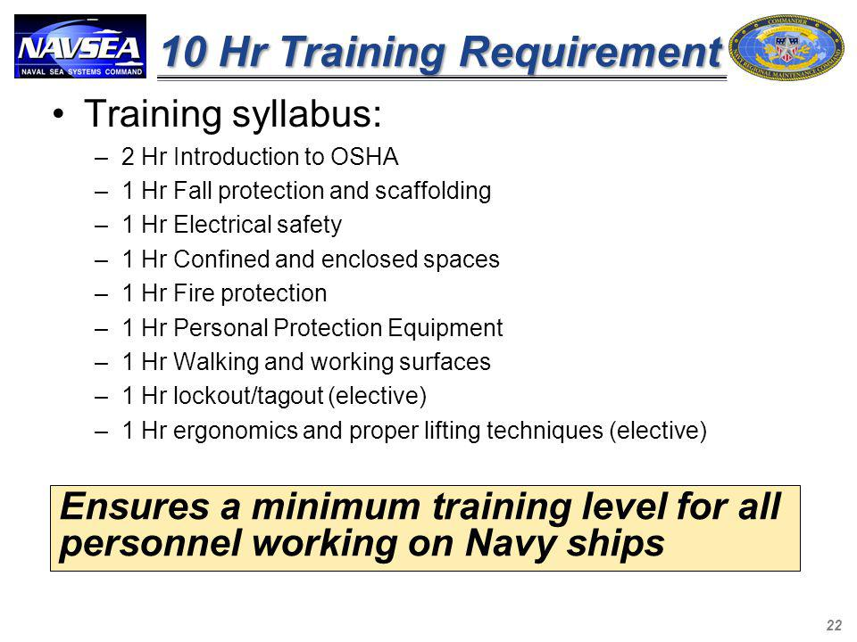 10 Hr Training Requirement