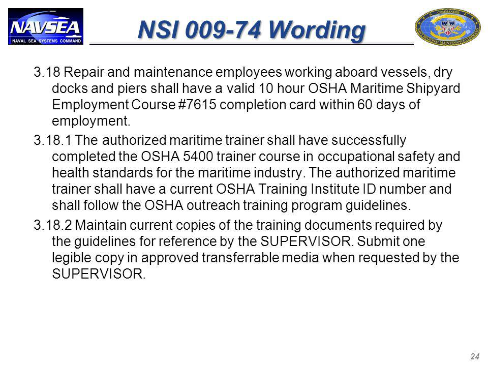 NSI 009-74 Wording