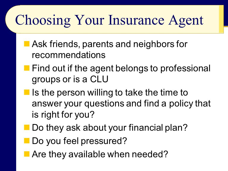 Choosing Your Insurance Agent