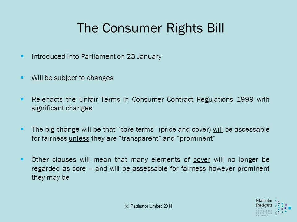 The Consumer Rights Bill