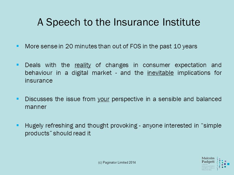 A Speech to the Insurance Institute