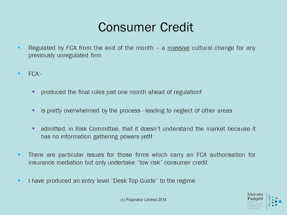 Consumer Credit Regulated by FCA from the end of the month – a massive cultural change for any previously unregulated firm.