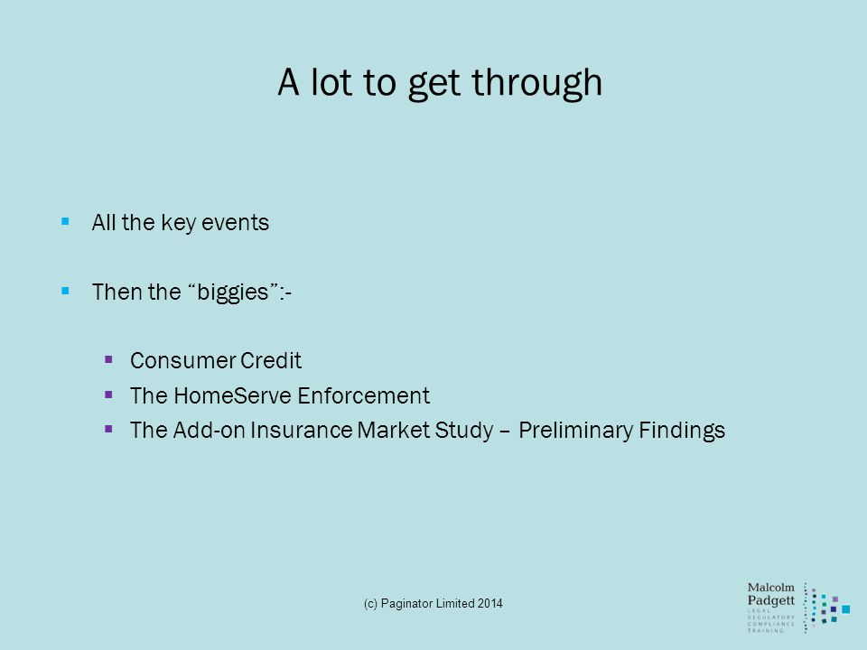 A lot to get through All the key events Then the biggies :-