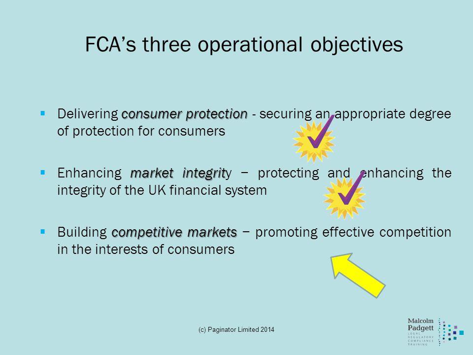 FCA's three operational objectives
