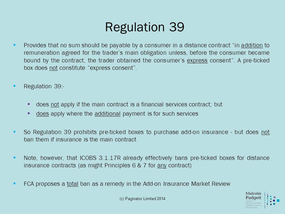 Regulation 39