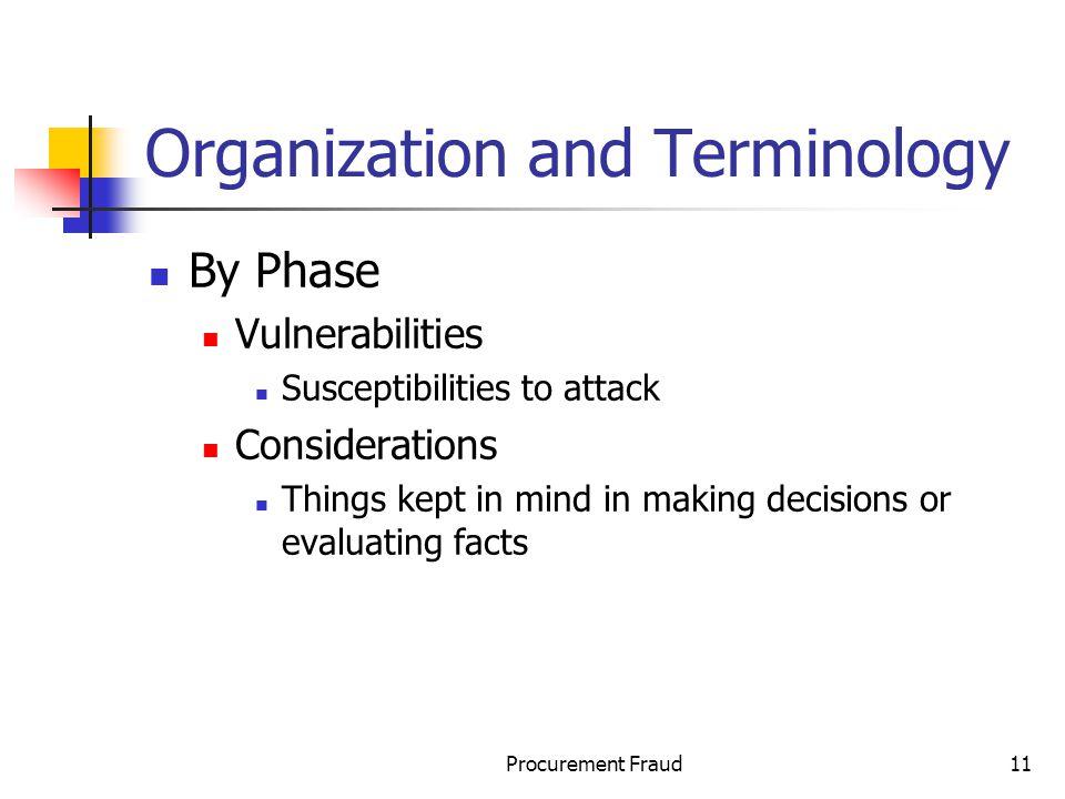 Organization and Terminology
