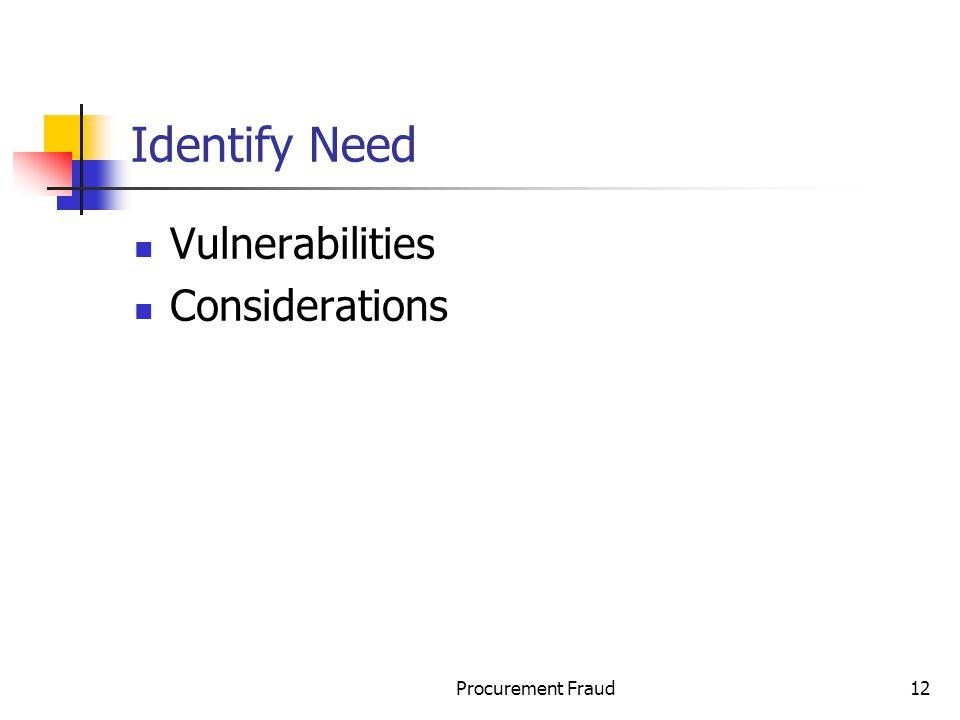 Identify Need Vulnerabilities Considerations Procurement Fraud
