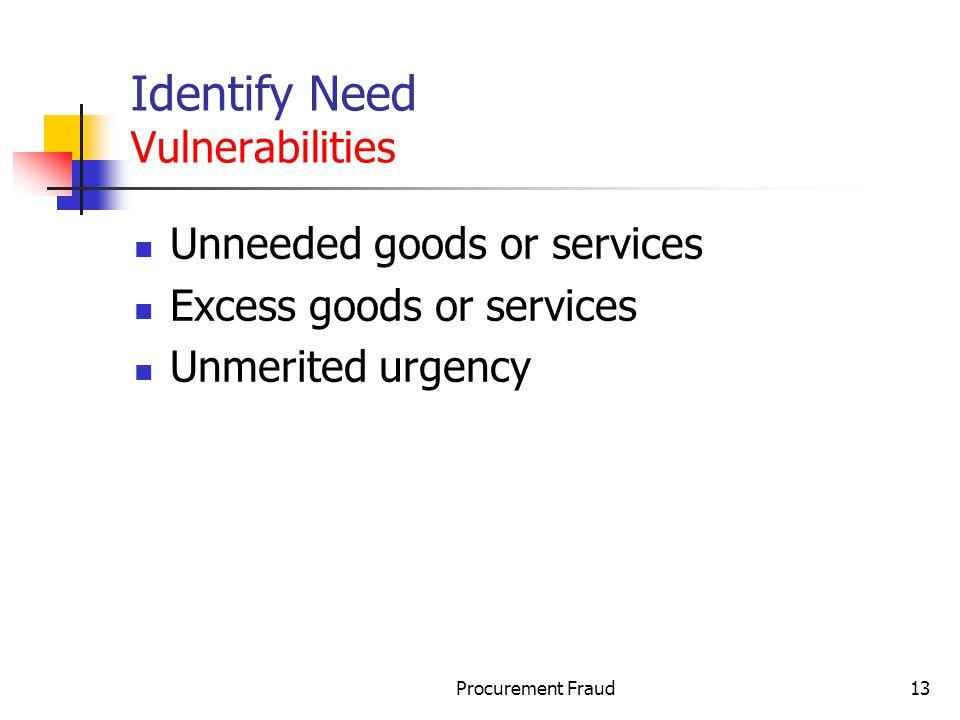 Identify Need Vulnerabilities