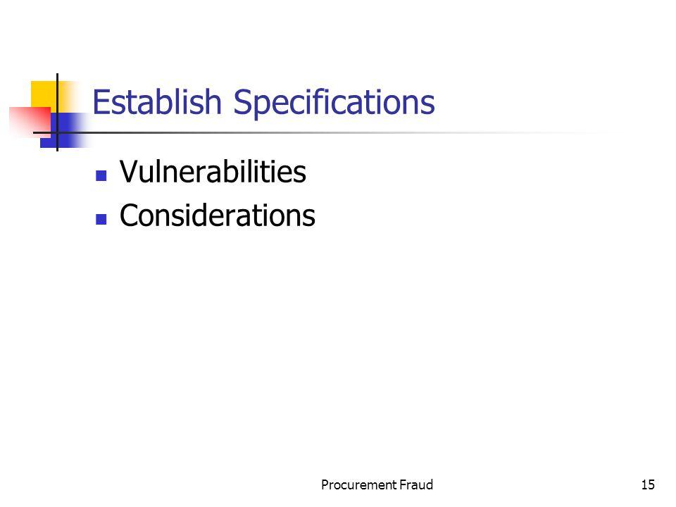 Establish Specifications