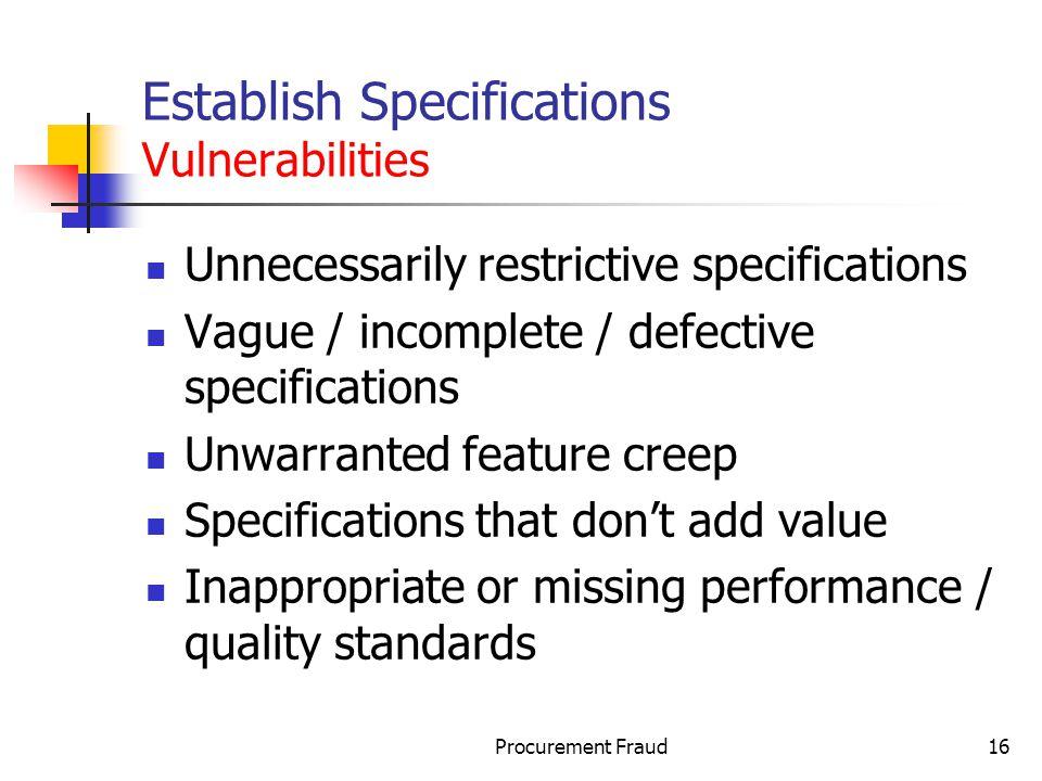 Establish Specifications Vulnerabilities