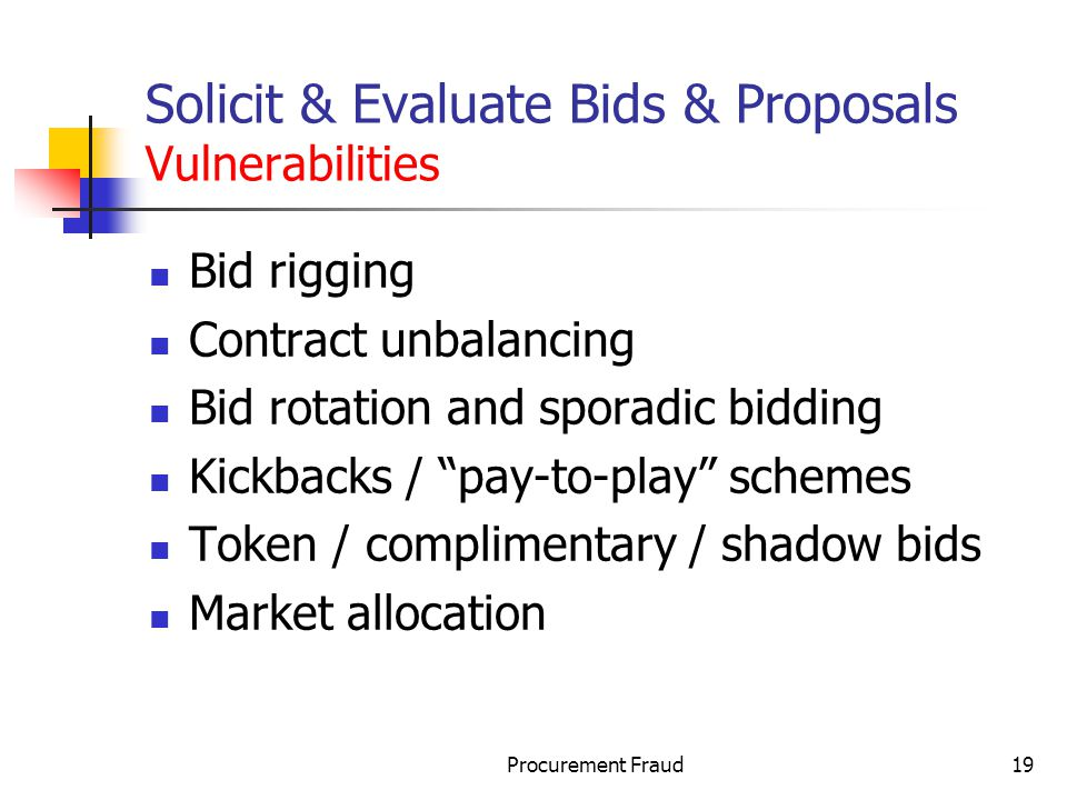 Solicit & Evaluate Bids & Proposals Vulnerabilities