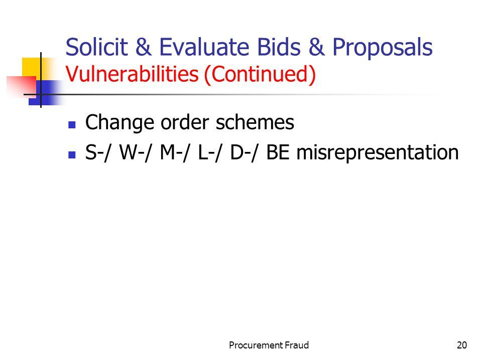 Solicit & Evaluate Bids & Proposals Vulnerabilities (Continued)