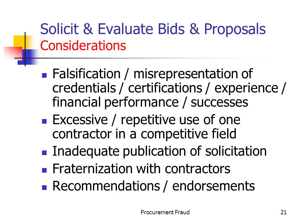 Solicit & Evaluate Bids & Proposals Considerations