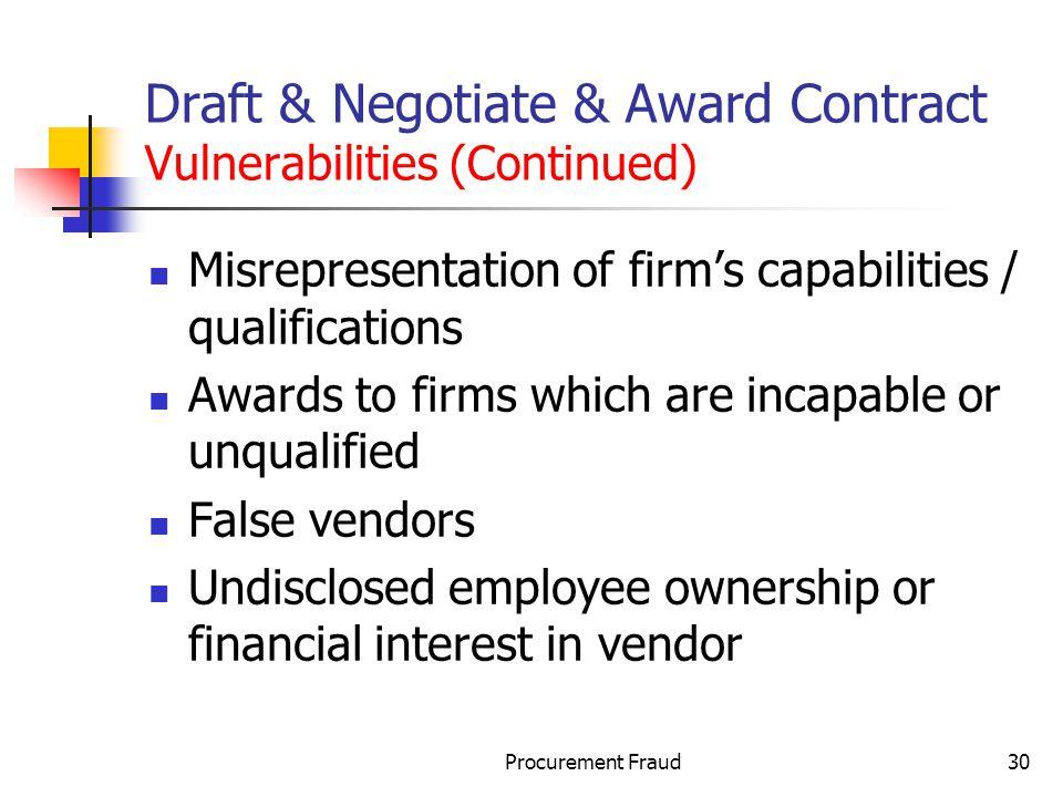 Draft & Negotiate & Award Contract Vulnerabilities (Continued)