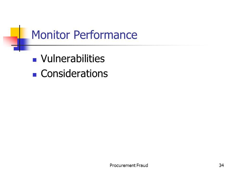 Monitor Performance Vulnerabilities Considerations Procurement Fraud