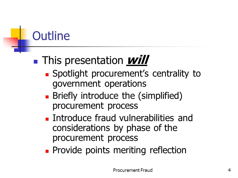 Outline This presentation will