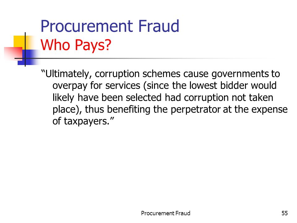 Procurement Fraud Who Pays