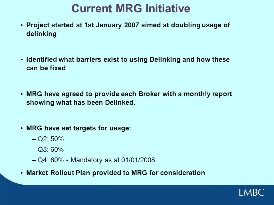 Current MRG Initiative