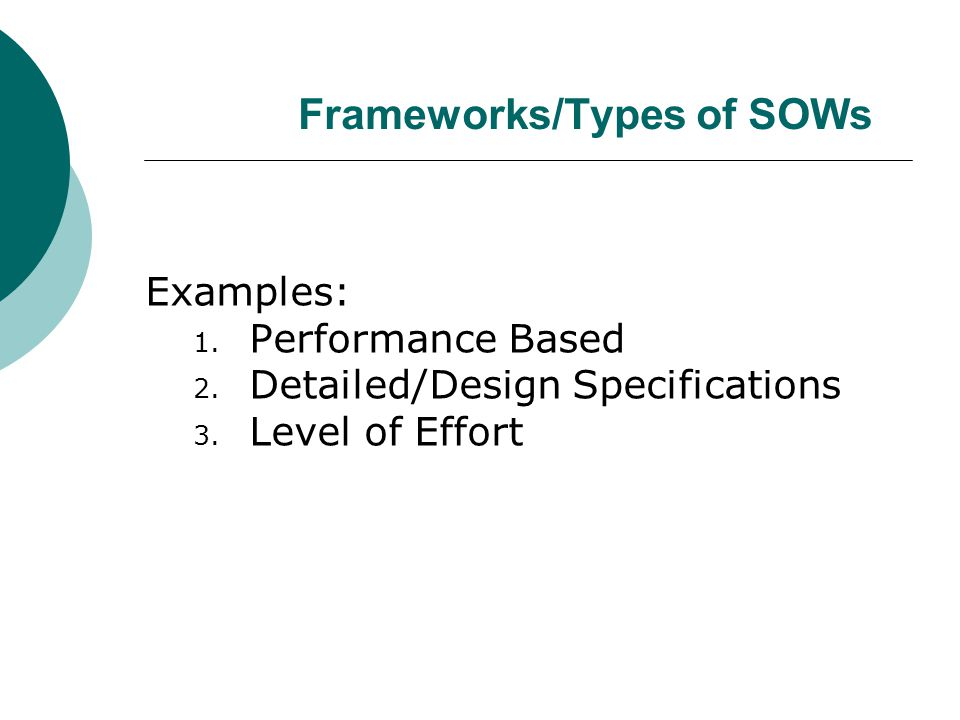 Frameworks/Types of SOWs