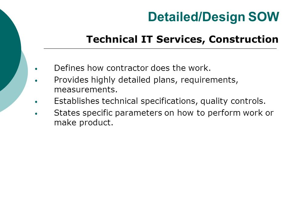 Detailed/Design SOW Technical IT Services, Construction