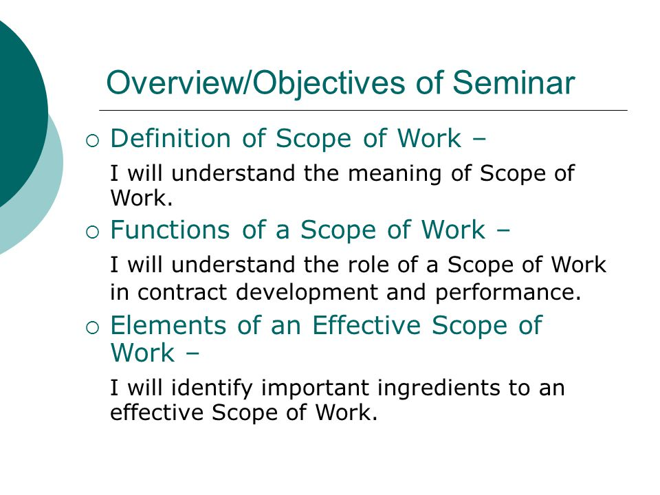 Overview/Objectives of Seminar