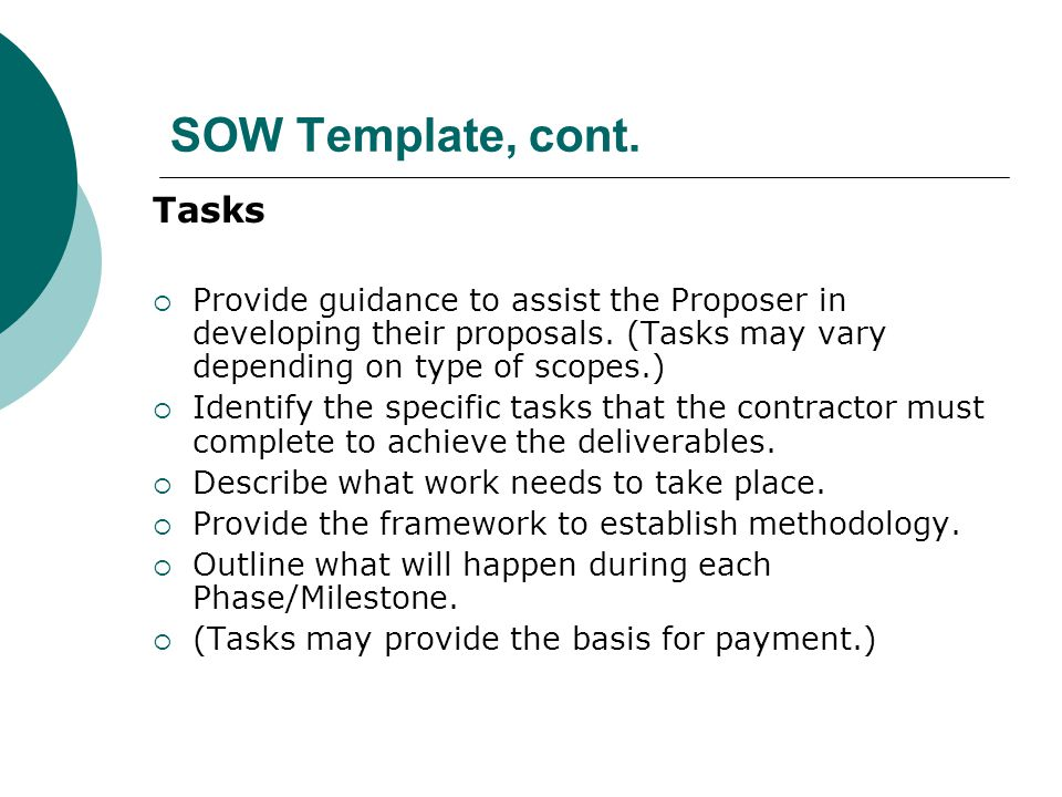 SOW Template, cont. Tasks