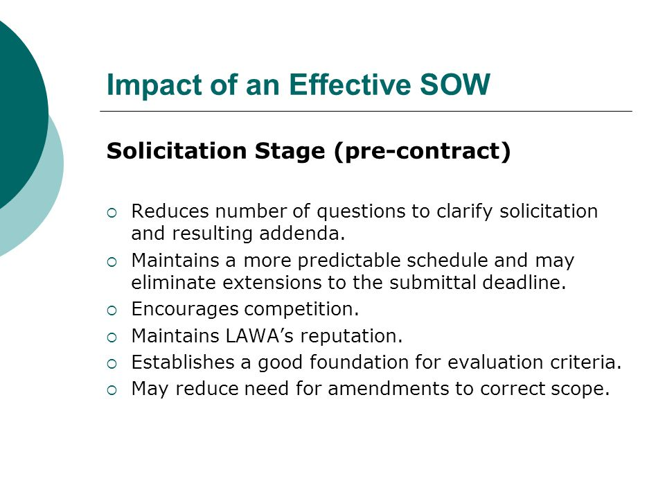 Impact of an Effective SOW