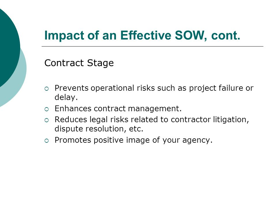 Impact of an Effective SOW, cont.