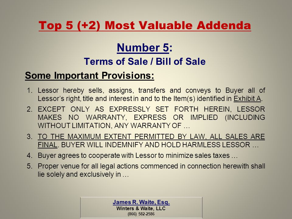 Top 5 (+2) Most Valuable Addenda