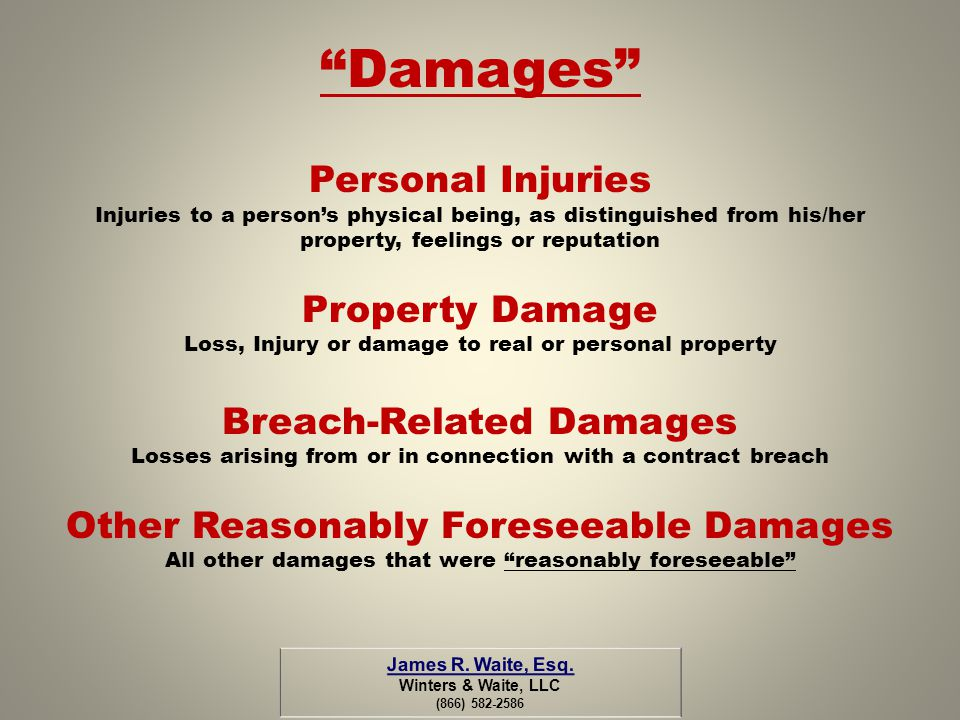 Damages Personal Injuries Property Damage Breach-Related Damages