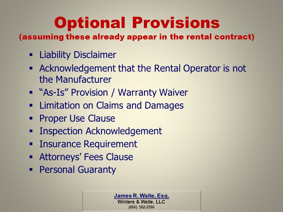 Optional Provisions (assuming these already appear in the rental contract)